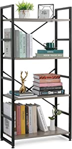 Haton Bookshelf, 4 Tier Industrial Rustic Wood Bookcase, Modern Standing Metal Frame Book Shelf for Living Room, Bedroom and Office, 4-Shelf, Gray/Black