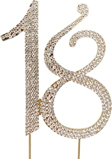 Honbay 18 Cake Topper Premium Sparkly Crystal Rhinestones Cake Topper Cake Decoration for 18th Birthday Party (18 Gold)