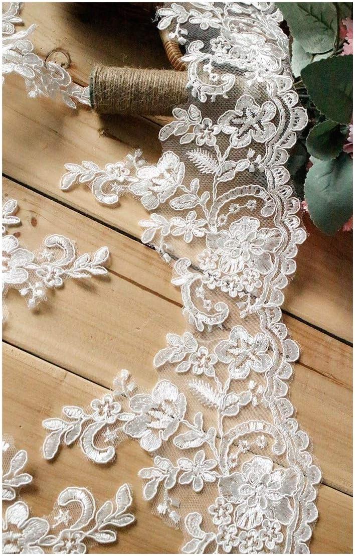 RQBHD White Lace Trim Wedding Handmade Fabric Clothes List Cash special price price DIY A