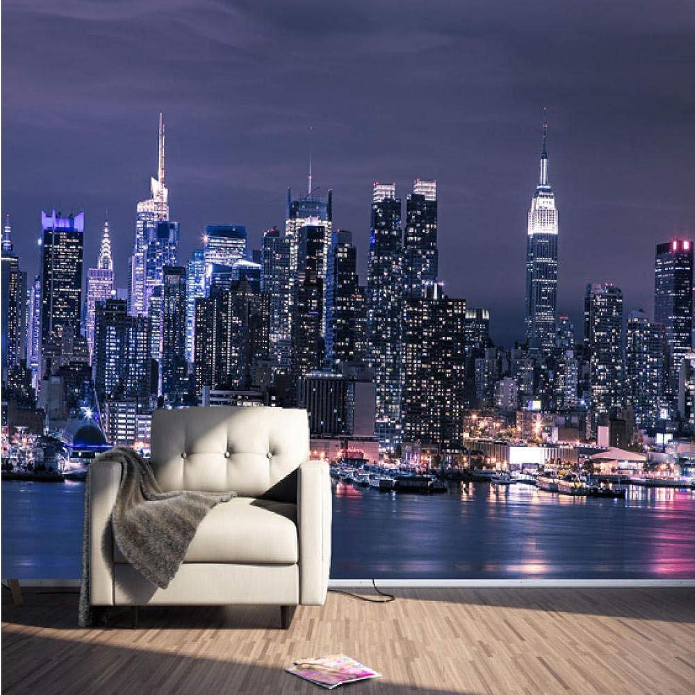 海里ラテン温室カスタム3D不織布壁紙現代ニューヨーク市夜景リビングルームテレビ背景壁の装飾壁画壁紙3D?-120X100CM