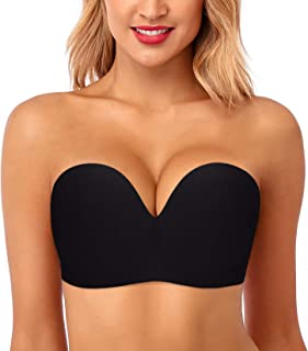 HANSCA Backless Strapless Adhesive Bra for Plus Size Women Wire Free Open Back Sticky Bras Large Bust (Black Color, Cup D)