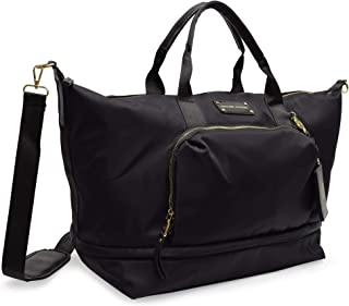 Adrienne Vittadini Nylon Expandable Drop Down Bottom Weekender-Black (Black)