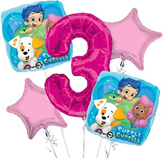 Bubble Guppies Balloon Bouquet 3rd Birthday 5 pcs - Party Supplies