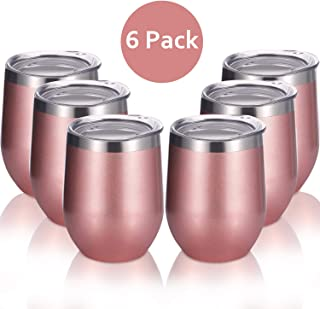Skylety 6 Pack 12 Oz Unbreakable Drink-Ware Stemless Wine Tumbler, Stainless Steel Triple-Insulated Vacuum Wine Glass Cup with Lids for Wine, Coffee, Champagne, Cocktails and Beer (Rose Gold-2)