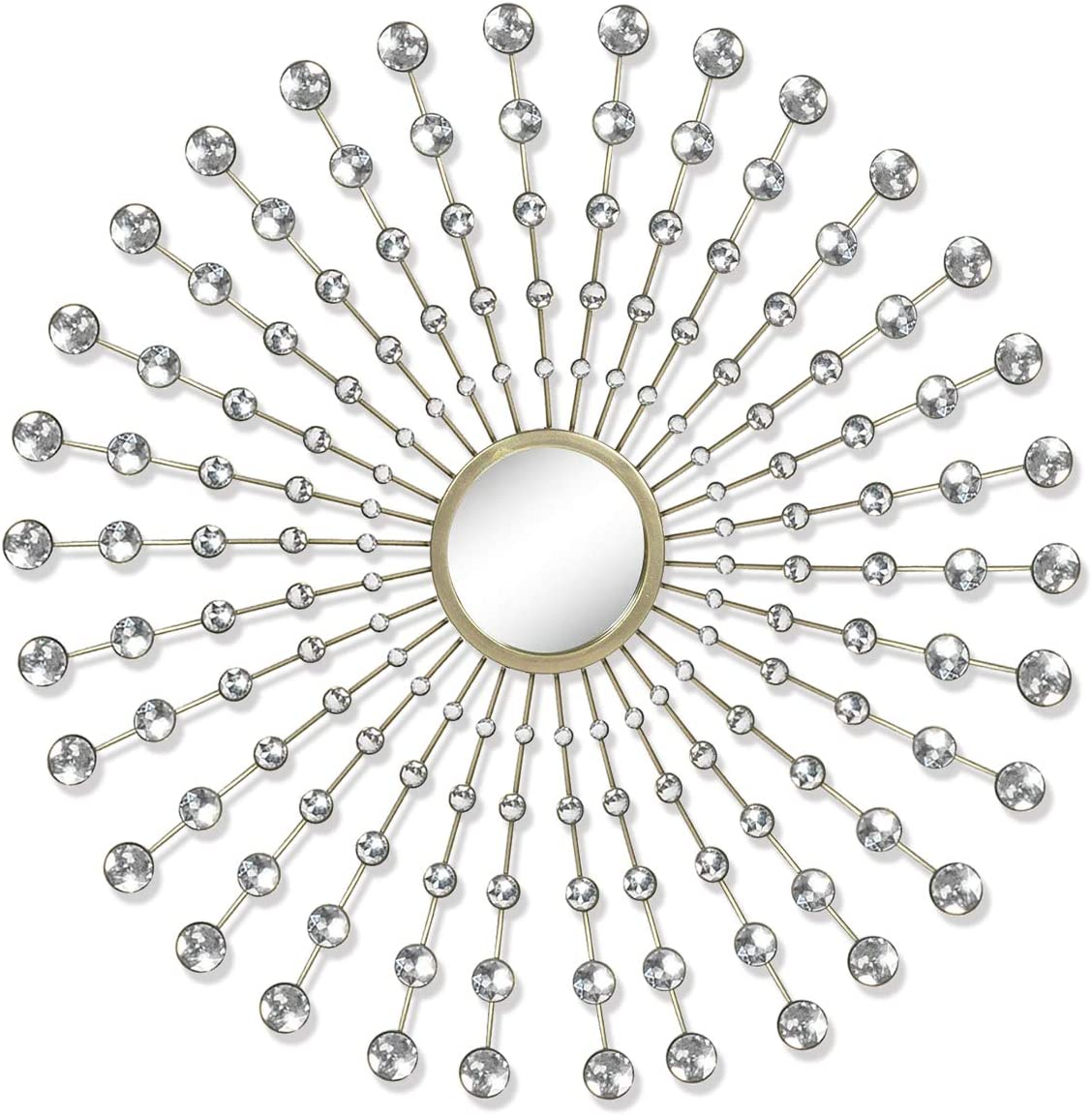 Asense Branded goods Metal Diamond Pearl Today's only Drop Mirror Wall Decor with
