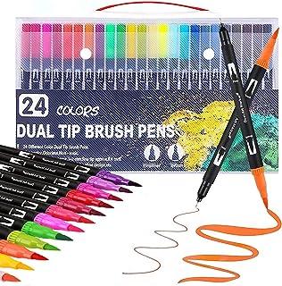 Bespoke Design 24 Colors Dual Tip Art Marker Brush Pens for Kids Adults Drawing, Sketching, Highlighting, Planner Calendar