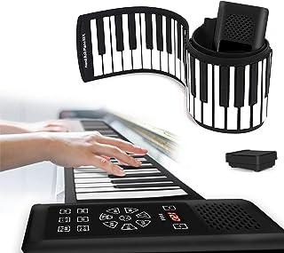 【最新版日本語タッチパネル】ロールピアノ 88鍵盤 初心者 折畳 電子ピアノ 128種類音色 128種リズム 15デモ曲 Bluetooth機能付き スピーカー内蔵 充電池駆動 子供用 練習 鍵盤楽器 日本語説明書付き
