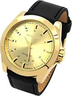 Mens Gold Tone Over Sized Black Leather Band Gold Face Casual Quartz Wrist Watch