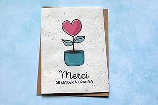 Carte ensemencée Merci de m'aider à grandir Coeur. Carte à planter Merci maitresse