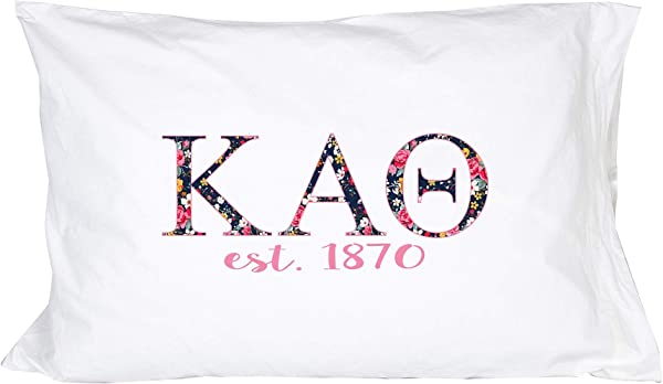 Desert Cactus Kappa Alpha Theta Sorority Floral Letters With Founding Year Pillowcase 300 Thread Count 100 Cotton Theta