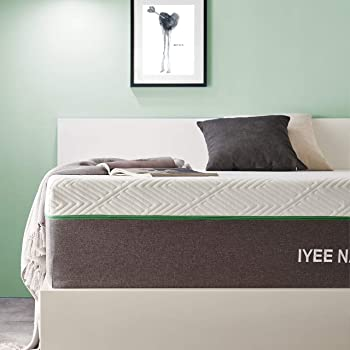 King Size Mattress, 12 Inch Iyee Nature Cooling-Gel Memory Foam Mattress Bed in a Box, Supportive & Pressure Relief with Breathable Soft Fabric Cover, Medium Firm Feel,Gray
