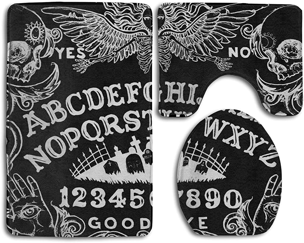 RiuianaBVCc Ouija Board Black Rubber Backed Non Slip Water Absorption Bathroom Rug Mats Set 3 Piece 40 X 60 Cm