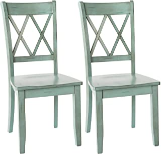 Ashley Furniture Signature Design - Mestler Dining Room Side Chair - Wood Seat - Set of 2 - Blue/Green (Renewed)