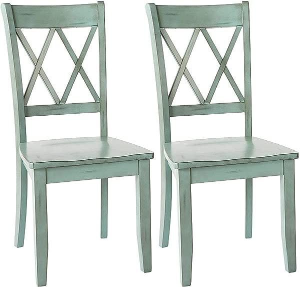 Ashley Furniture Signature Design Mestler Dining Room Side Chair Wood Seat Set Of 2 Blue Green Renewed