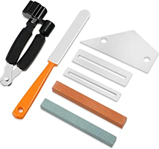 Guitar Luthier Tool Kit Repairing Tools Set Guitar Fret Crowning File, 3 in 1 Guitar String Winder Cutter Pin Puller, Fret Rocker Leveling Tool, 2 Fingerboard Guards Protectors and 2 Grinding Stones