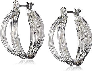 NINE WEST Women's Silvertone Twisted Hoop Earrings