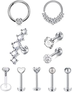 VFUN Acciaio Inossidabile Piercing Trago 16G Segment Hinged Clicker Piercing Helix Cartilagine Piercing Labbro 10 Pezzi pe...