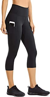 CRZ YOGA Women's Naked Feeling High Waist Capri Tights Sports Leggings with Side Pockets -19""