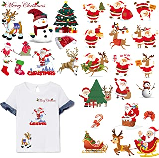 3 Sheets Christmas Iron On Patches Heat Transfers Stickers Winter New Year Appliques Patches Xmas Animals Deer Santa Claus...