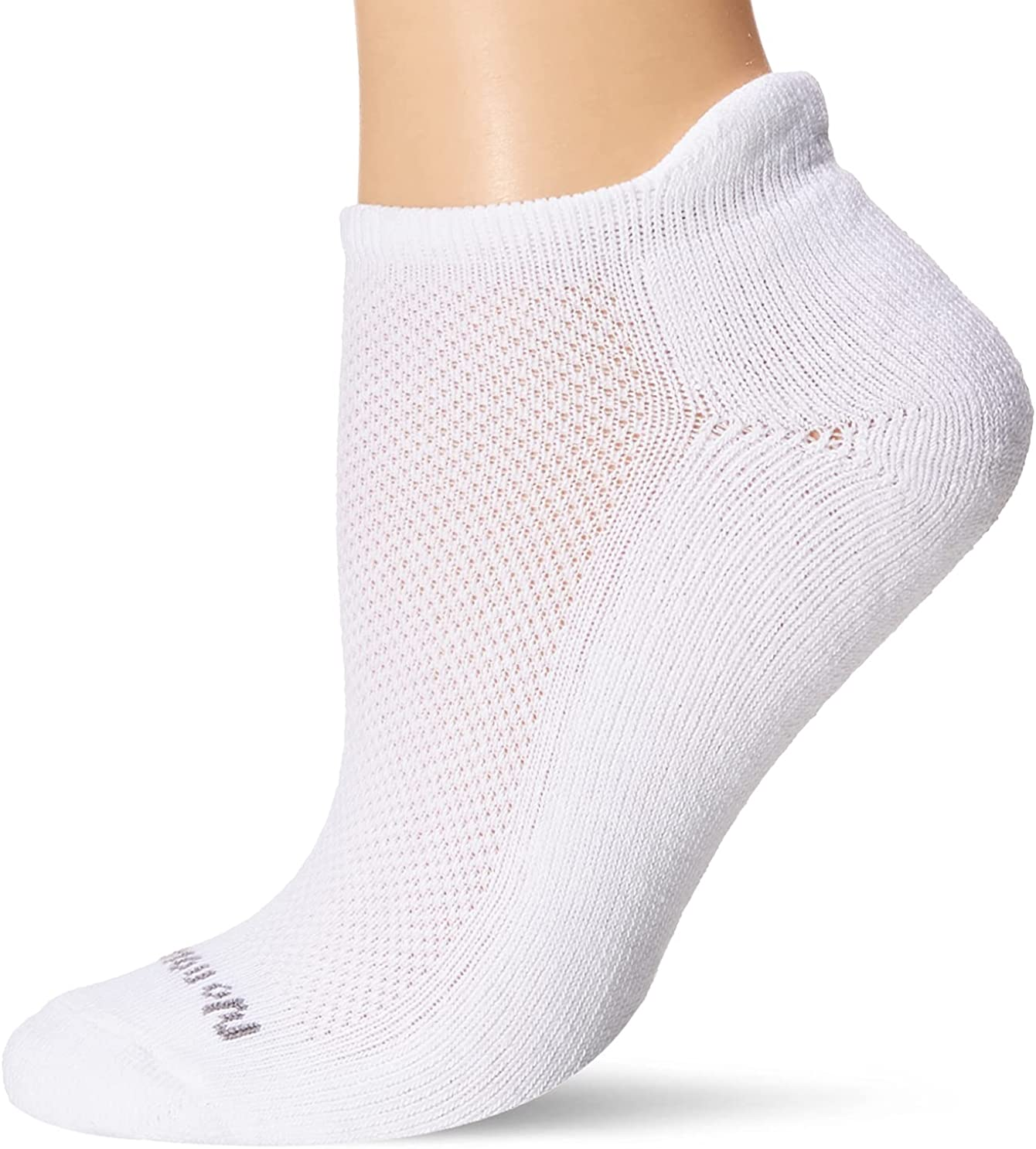 No Nonsense Women's Mesh No Show Socks with Back Tab, White, One Size (3-Pack)