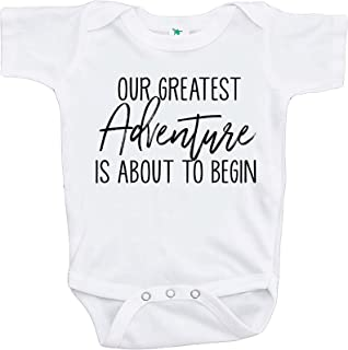 7 ate 9 Apparel Pregnancy Announcement Onepiece - Greatest Adventure White