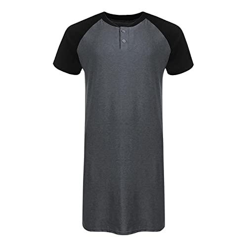 9960020192c9 Runcati Mens Sleepshirt Short Sleeve Nightgown Raglan Long Night Shirts  Henley Sleepwear Nightwear
