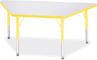 """Berries Trapezoid Activity Tables, T-Height, 24"""" x 48"""", Gray/Yellow/Yellow"""