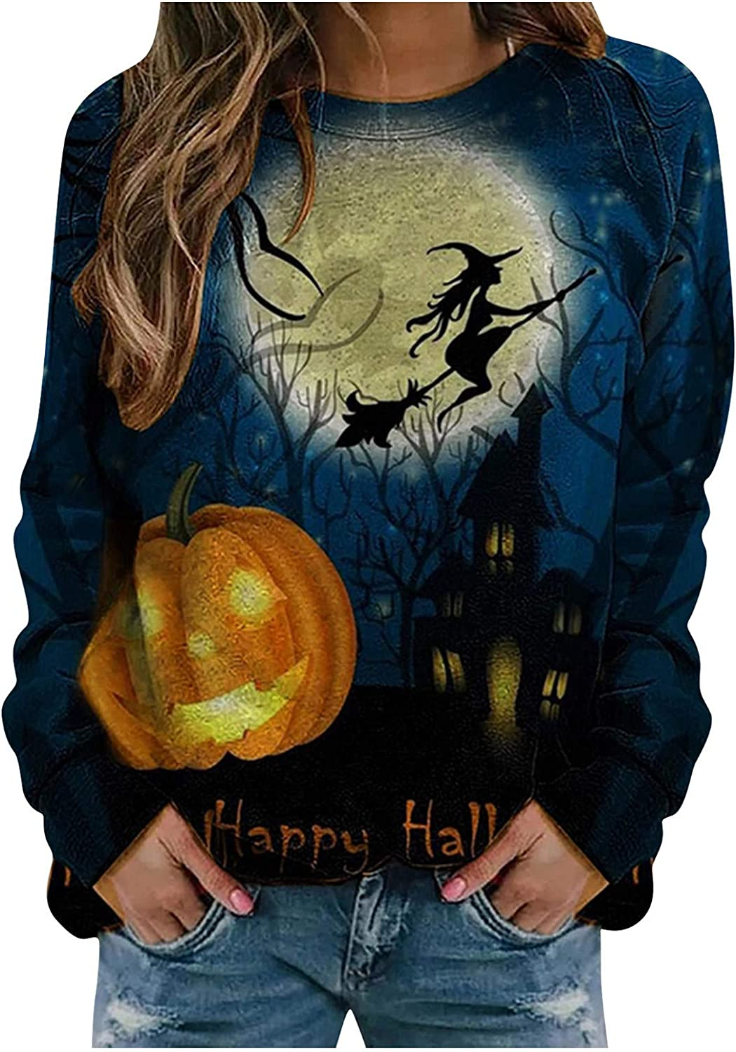 Pullover Sweaters for Women Halloween Christmas Sweatshirt Long Sleeve Casual Pullover Shirt Hoodies Tops Tunic