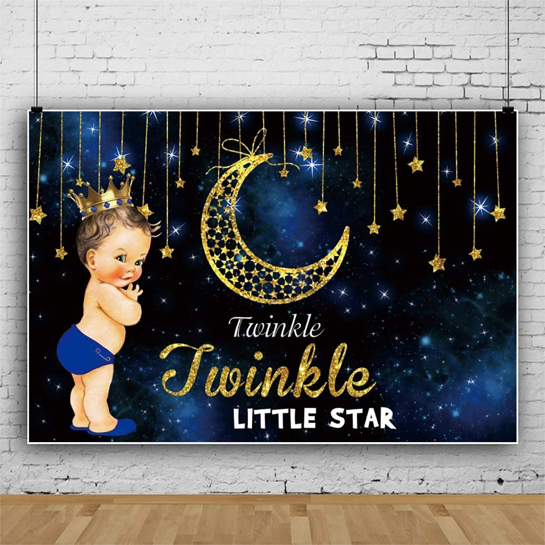 OERJU 5x4ft Twinkle Twinkle Little Star Theme Backdrop Little Prince with Golden Crown Photography Background Boy Baby Shower Photoshoot Gender Reveal Party Banner Boys Photo Studio Props