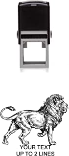 Adult Lion Rubber Stamp – Medium Self-Inking - 1.5 inches (40mm) Tall Image Area - Select from Several Sizes – Can be Customized with Your own Text – Black Ink