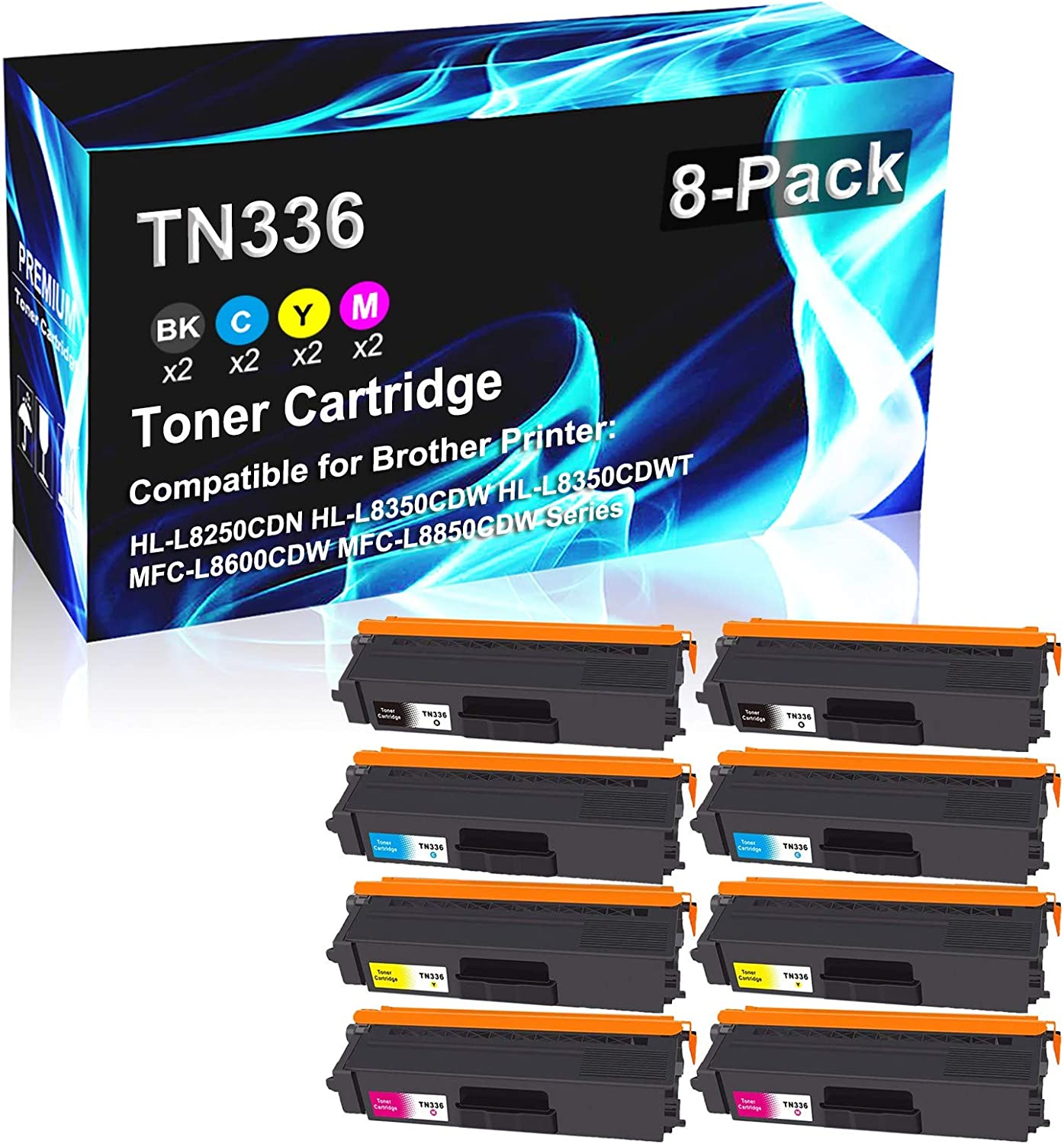 8 Pack (2BK+2C+2Y+2M) Compatible High Yield HL-L8250CDN HL-L8350CDW HL-L8350CDWT MFC-L8600CDW MFC-L8850CDW Printer Toner Replacement for Brother TN-336   TN336 Laser Printer Toner Cartridge