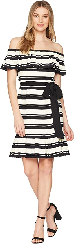 Halston Heritage - Off Shoulder Flounce Sleeve Striped Dress