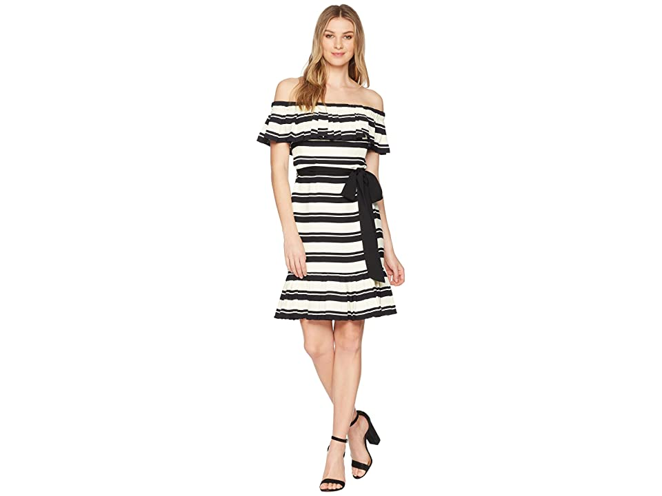 Halston Heritage Off Shoulder Flounce Sleeve Striped Dress (Black/Cream Stripe) Women