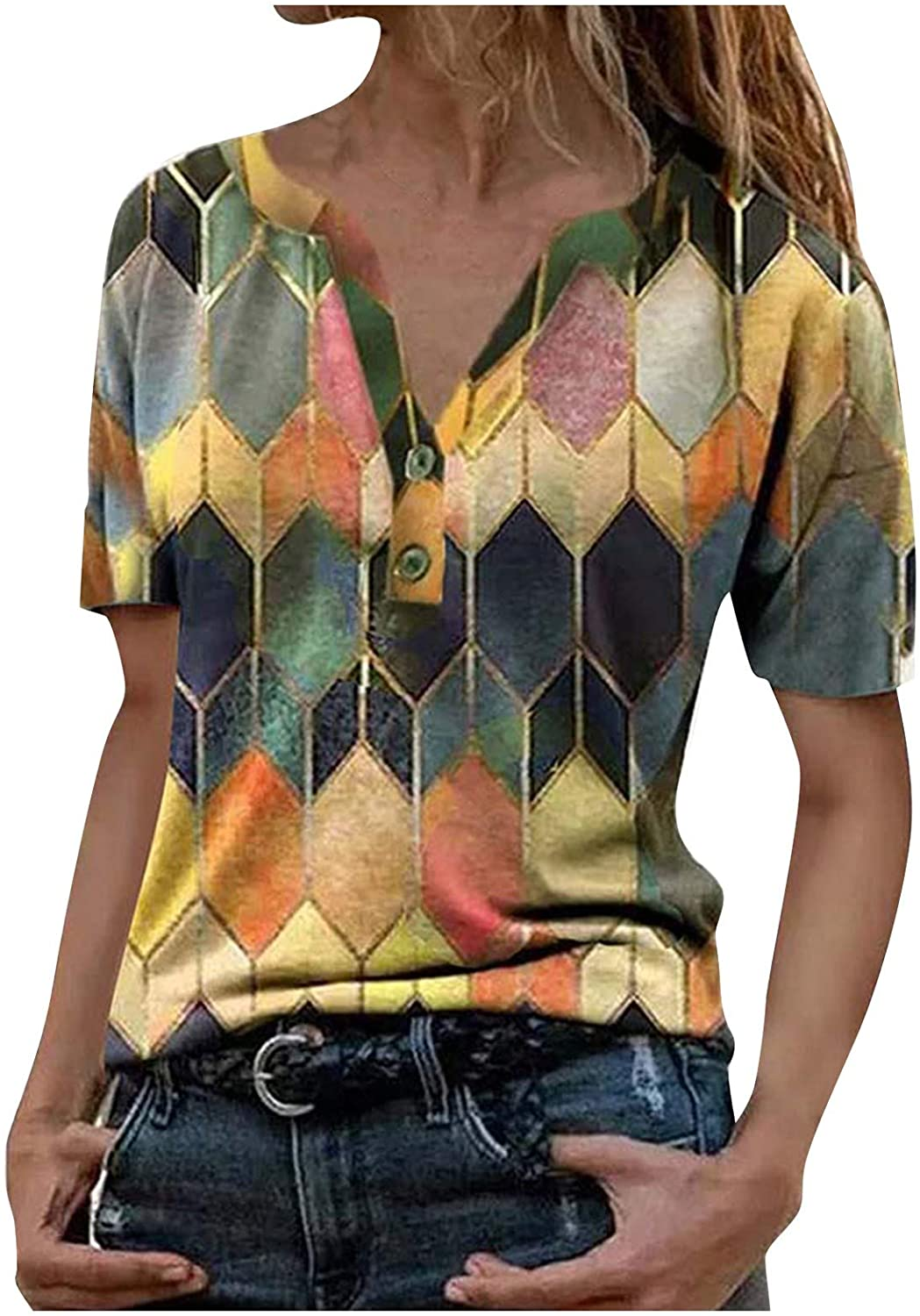 AODONG T-Shirts for Womens Short Sleeves Casual Buttons Down Blouse Summer Tees Pullover Shirts