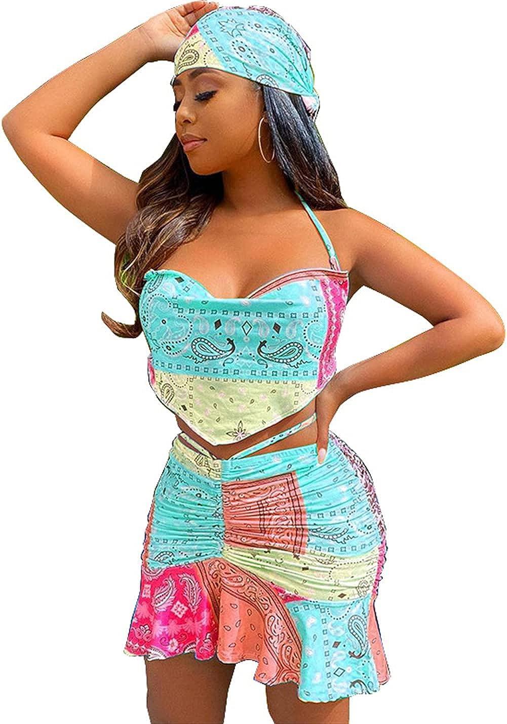 Womens Sexy 2 Pieces Floral Printing Tube Top Ruffle Dress Set Nightclub Clubwear Dress Set