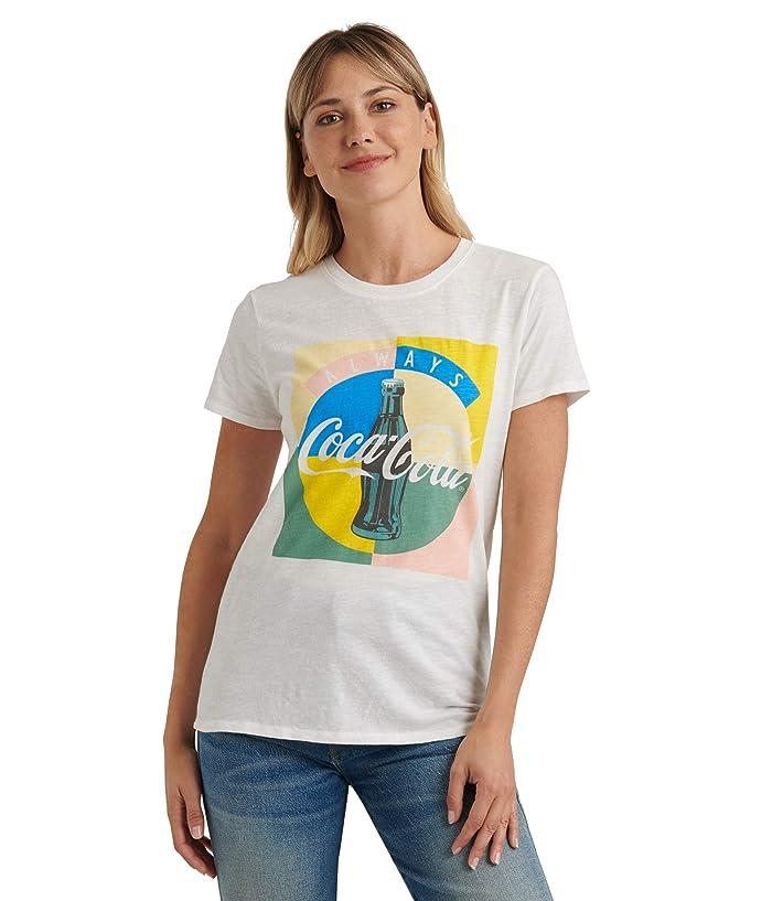 Lucky Brand  Short Sleeve Crew Neck Coke Multi Tee (Lucky White) Womens Clothing