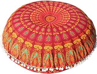 Ronamick - Funda de cojín con diseño de mandala, redonda, bohemio, meditación, otomano, color naranja