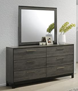 Roundhill Furniture Ioana 187 Antique Grey Finish Wood Dresser and Mirror, Dresser