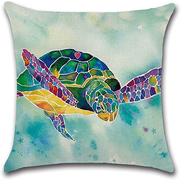Decorbox Watercolor Turtle Sea Ocean Marine Animal Pattern 18x18 Inch Cotton Linen Square Throw Pillow Case Decorative Durable Cushion Slipcover Home Decor Standard Size Accent Pillowcase Slip Cover