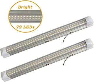 Wiipro 13.5'' Car Interior LED Lights Bar 2PCS 4.5W 72 Bulbs Lighting Strip with On/Off Switch for Van Bus Caravan Lorry Camper Boat RV White