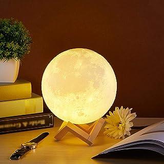 CooPark Lámpara de luna 12cm Lámpara de luna de 16 colores con control remoto y control táctil / Regulable / USB Recargable LED RGB Luz de luna Lámpara de noche Regalos para niños