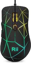Rii RM106 Ratón ergonómico óptico con Cable USB, de 5 Botones y 3 Niveles de dpi Ajustables. 7 Colores RGB LED y retroiluminación Parpadeante. Color Negro