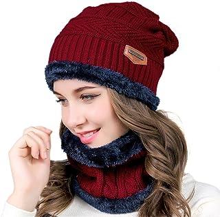 Tuopuda Warme wintermuts, beanie, gebreide muts en sjaal met fleecevoering