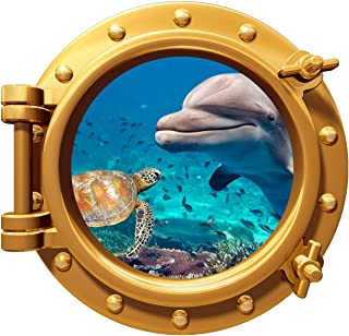 avgrafx Dolphin Turtle Underwater Porthole Wall Color Decal Graphic 12