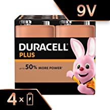 Duracell Plus 9V Alkaline Batteries for Smoke Alarms, Pack of 4, 1.5 Volts 6LR61 MX1604 Ideal for Smoke Alarms (Packaging May Vary)