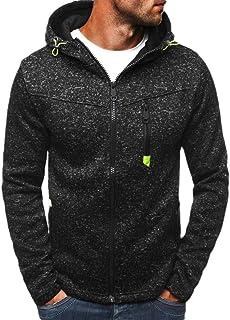 FSSE Men Casual Sport Fleece Zip Up Hoodie Solid Color Sweatshirt Jacket Coat Outwear
