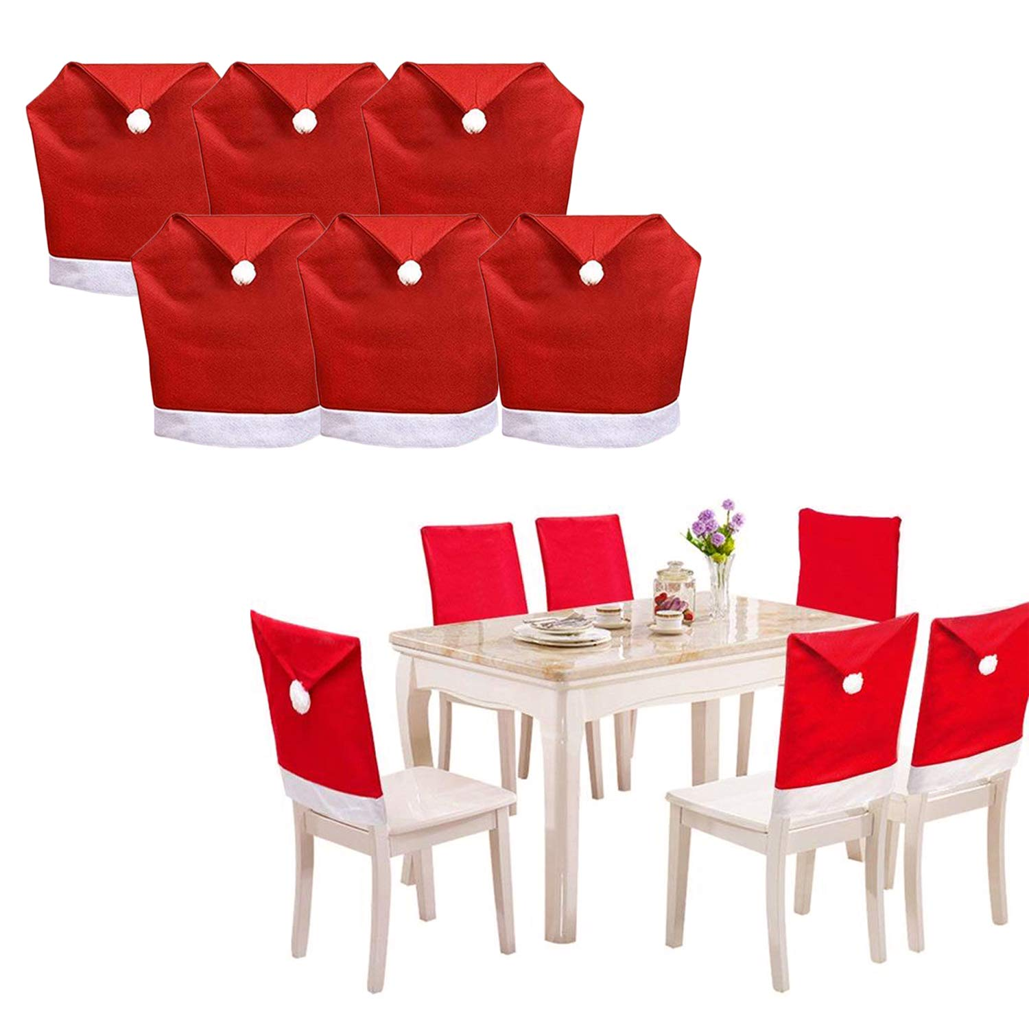 SunTrade 10 Pack Santa Hat Dining Chair Covers,for Christmas Xmas Dinner  Table Chairs Decoration