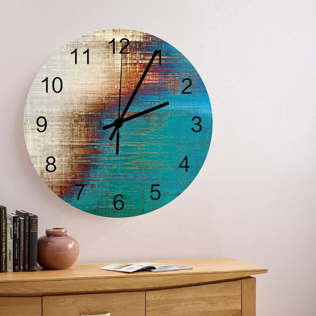 MuswannaA 12 Inch Round Wooden Manufacturer OFFicial shop Wall Beige Blue Clock Ranking TOP4 Vintage and