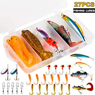 PLUSINNO Fishing Lures Tackle kit Set for Freshwater Saltwater, Including Soft Baits Lead Head, Crankbaits, Spinner Lures, Jig Heads, Plastic Worms with Tackle Box, 27pcs Fishing Gear Lure