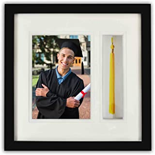Golden State Art, Graduation Shadow Box Frame with Double Mat, Real Glass and Tassel Insert, Black